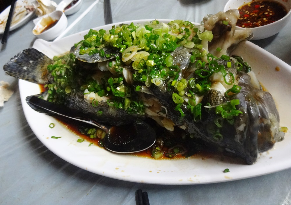 Steamed fish with greems