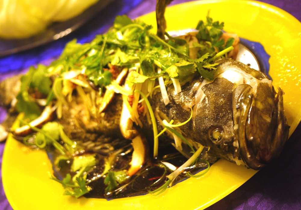 Steamed fish with seafood soy sauce