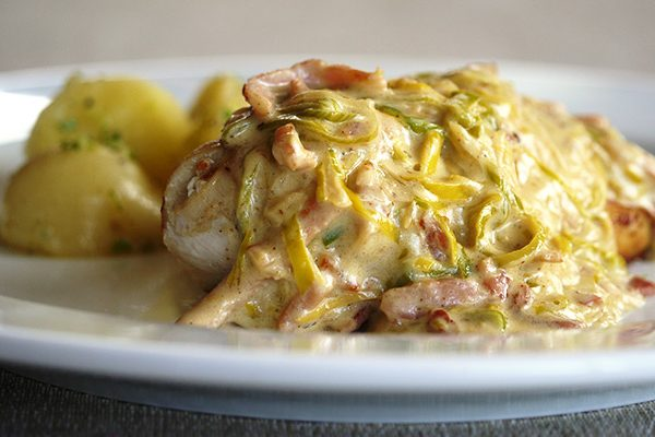 Chicken Fillet with Leek & Bacon Sauce