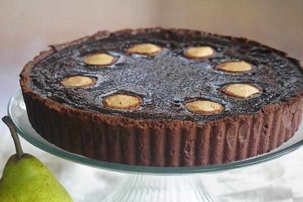 Dark Chocolate and Pear Tart