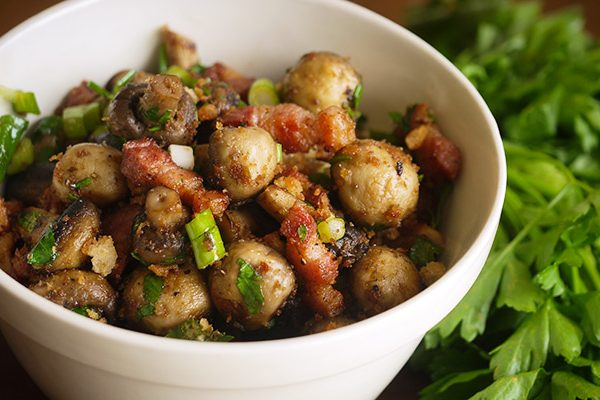 mushrooms with speck