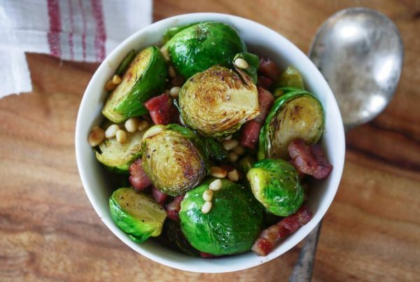 Brussels Sprouts with Bacon & Pine Nuts