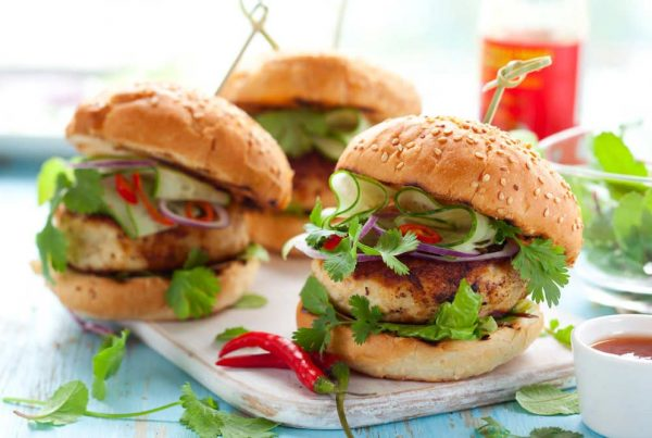 chicken burger - thai style