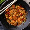 Burning noodles with prawns